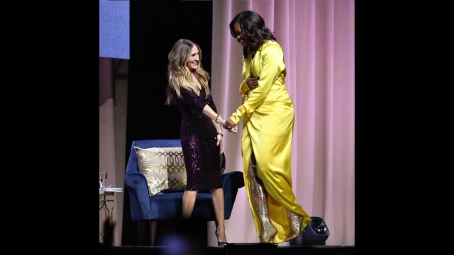 former first lady michelle obama discusses her book becoming with sarah jessica parker at barclays center on december 19 2018 in new york city - sarah parker stock videos & royalty-free footage