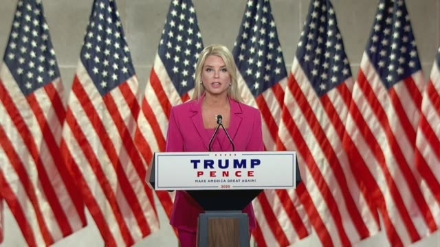 former florida attorney general in trump impeachment defense counsel pam bondi says in remarks to the 2020 republican national convention that in... - attorney general stock videos & royalty-free footage