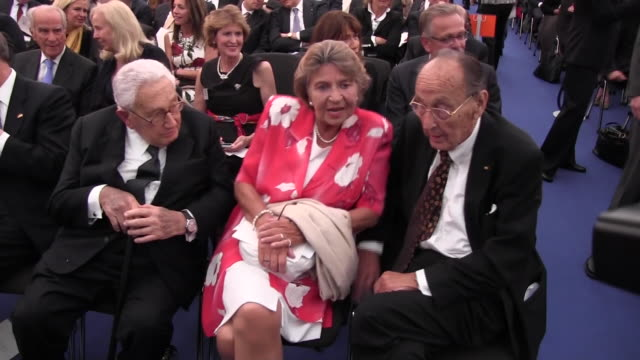 Former Foreign Minister and Vice Chancellor of Germany HansDietrich Genscher seen sitting next to his wife Barbara Schmidt Genscher as well as the...