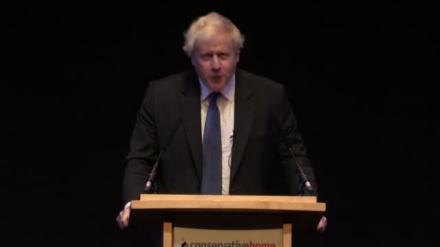 former foreign secretary boris johnson makes a fringe speech at the conservative party conference in which he calls for members to support prime... - infamous stock videos & royalty-free footage