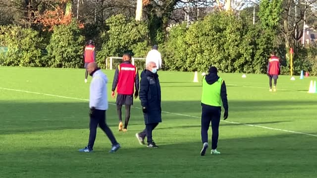 former france coach raymond domenech takes part in his first training session as coach of struggling french league side fc nantes - nantes stock videos & royalty-free footage