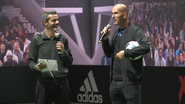 Former French football player Zinedine Zidane along with former Spanish player Xavi on Thursday presented the ball created for the Euro 2016...