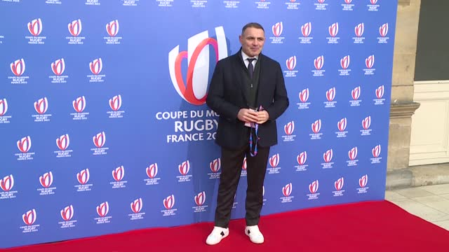 former french rugby captain raphael ibanez, oscar-winning actor jean dujardin and architect jean-michel wilmotte arrive for the 2023 rugby world cup... - le bourse quarter stock videos & royalty-free footage