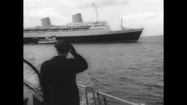 former german ocean liner ms kungsholm now ms europa sails into new york harbor for her maiden voyage as an american ship / various views of the... - ocean liner stock videos and b-roll footage