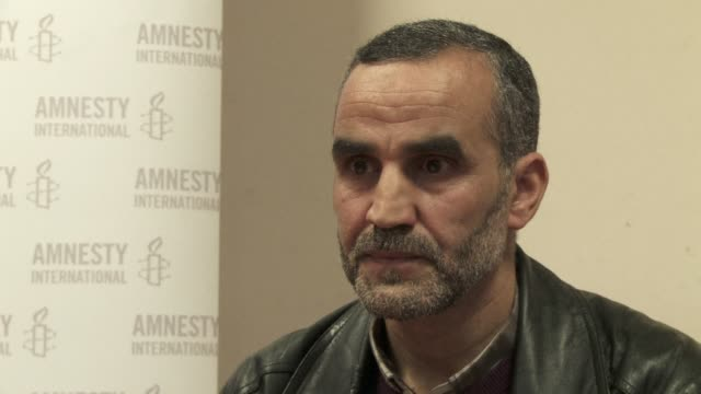 stockvideo's en b-roll-footage met former guantanamo detainee lakhdar boumediene accused of plotting to blow up the us and british embassies in sarajevo has been speaking out in france... - former