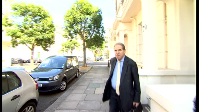 former home secretary leon brittan dies aged 75 lib london ext lord brittan leaving home commenting to press about paedophile information exchange... - pedophilia stock videos and b-roll footage