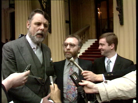former hostages england london buck palace ms john mccarthy terry waite amp brian keenan showing cbe's ms press taking pics ms terry waite speaking... - jill morrell stock videos & royalty-free footage