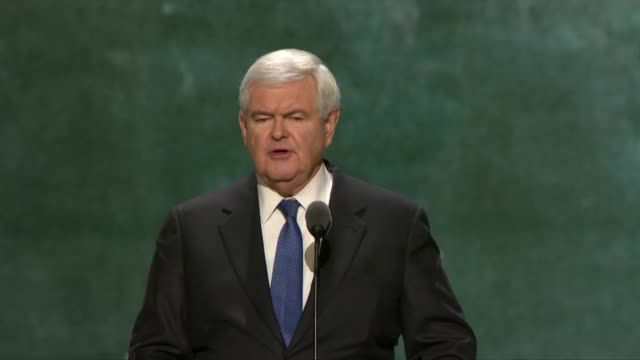 former house speaker newt gingrich with wife and co-author callista gingrich speak to delegates at the convention about electing someone who will be... - prosperity stock videos & royalty-free footage