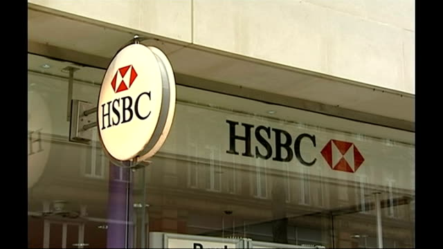 Former HSBC director told by MPs to resign as BBC Trust chair ENGLAND EXT Close shots of HSBC sign outside high street branch of bank