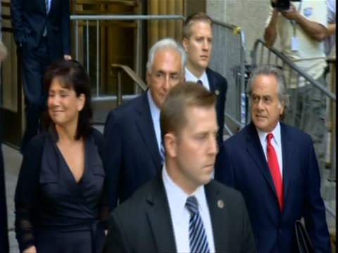 former imf director dominque strauss kahn and his wife anne sinclair leave court new york august 2011 - sinclair institute stock videos and b-roll footage