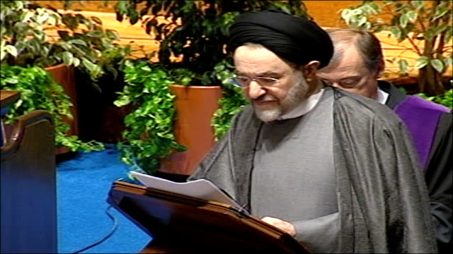former iranian president receives honorary degree from scottish university khatami speech sot humankind soul is probably the most complex of all... - social history stock videos & royalty-free footage