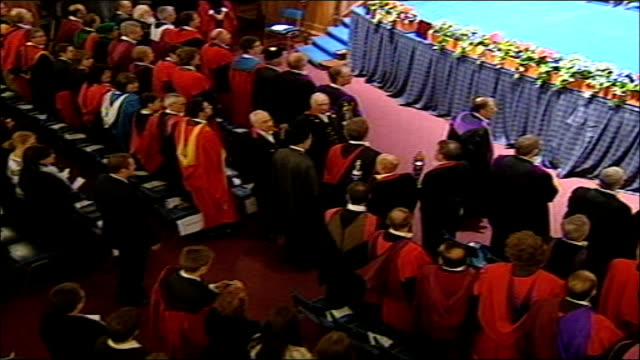 former iranian president receives honorary degree from scottish university; **beware flash photography** scotland: fife: university of st andrews:... - st. andrews scotland stock videos & royalty-free footage