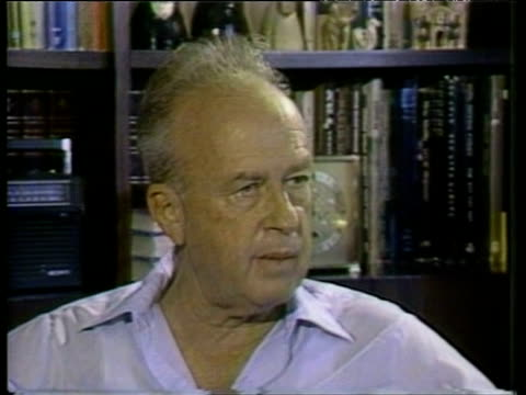 stockvideo's en b-roll-footage met former israeli prime minister yitzhak rabin expresses doubt over success of us diplomatic efforts for peace between israel and lebanon - yitzhak rabin