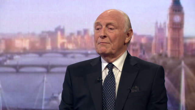 former labour party leader neil kinnock talking about the labour party's constitution and that if jeremy corbyn does not have substantial backing of... - parlamentsmitglied stock-videos und b-roll-filmmaterial
