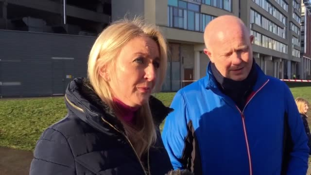 former liverpool fc player mark wright and his wife sue describe witnessing the fire and leading horses from the car park to safety interview with... - mark wright liverpool stock videos & royalty-free footage