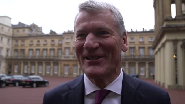 former manchester united chief executive david gill talks about receiving his cbe from the duke of cambridge at buckingham palace. mr gill spoke... - gill stock videos & royalty-free footage