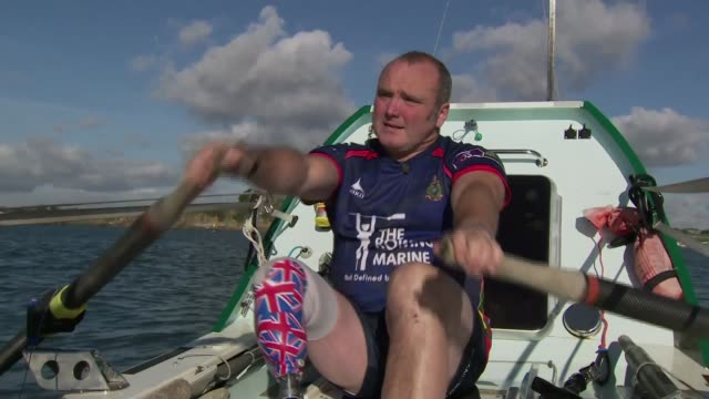 Former Marine's Atlantic challenge Plymouth Lee Spencer in boat training Lee Spencer interview SOT GVs Spencer rowing boat