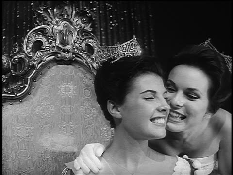 b/w 1963 former miss america kissing current miss america - yorkville illinois stock videos & royalty-free footage