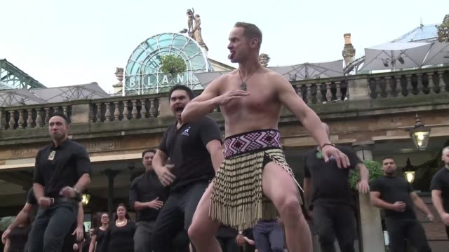 Former New Zealand rugby union player Jonah Lomu performs the ancient Maori war dance the Haka along with around 70 people in London's Covent Garden...