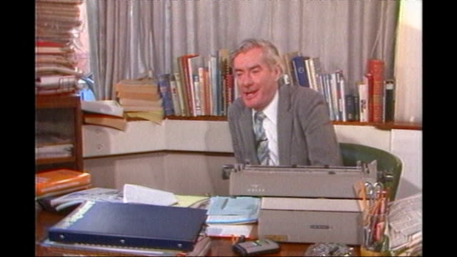 former news at ten presenter sir alastair burnet dies; 1980's: alastair burnett chatting with man at unidentified function alastair burnett interview... - alastair burnet stock videos & royalty-free footage