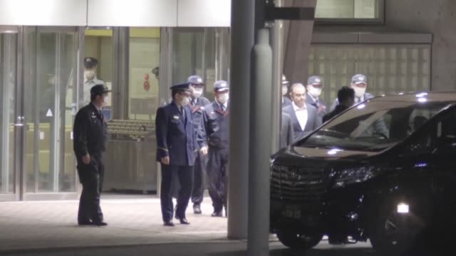 former nissan chief carlos ghosn leaves the kosuge detention centre in tokyo after accepting bail of $45 million under strict conditions that prevent... - bail cricket stump stock videos & royalty-free footage