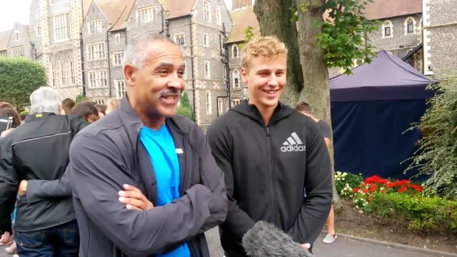 former olympic gold medalist daley thompson speaks about his son alex clayton's gcse marks at brighton college - general certificate of secondary education stock videos & royalty-free footage