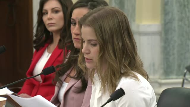 Former Olympic speedskater Bridie Farrell tells members of a Senate subcommittee that in February 2013 she sat in a recording studio in Milwaukee to...