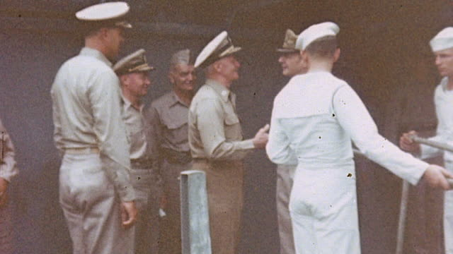 former pow general jonathan wainwright being piped aboard uss missouri for the japanese surrender / tokyo japan - missouri stock videos and b-roll footage