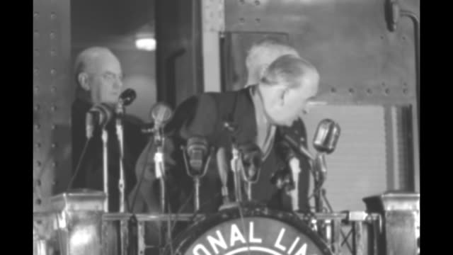 former pres harry truman on platform on end of train in station with mayor of washington dc f joseph donohue truman steps back into train from... - margaret truman stock-videos und b-roll-filmmaterial