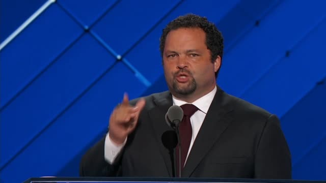 Former President and CEO of the NAACP Ben Jealous speaks at the 2016 Democratic National Convention telling delegates key points of the platform like...
