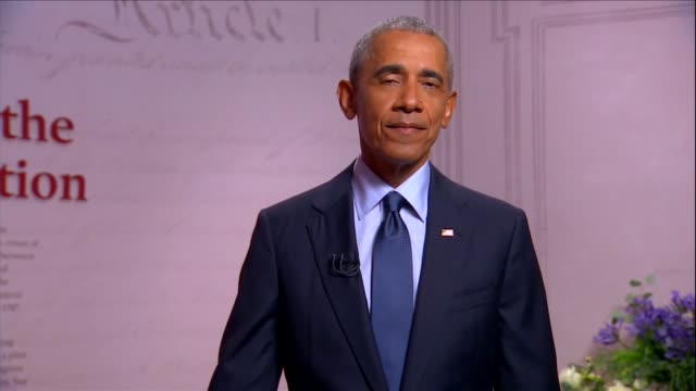 vidéos et rushes de former president barack obama says at the museum of the american revolution to the 2020 democratic national convention that joe biden and kamala... - museum