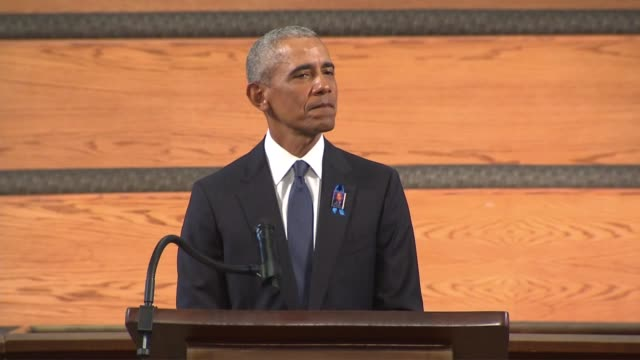 former president barack obama tells those gathered at ebenezer baptist church in atlanta for the funeral of late georgia congressman john lewis that... - imperfection stock videos & royalty-free footage