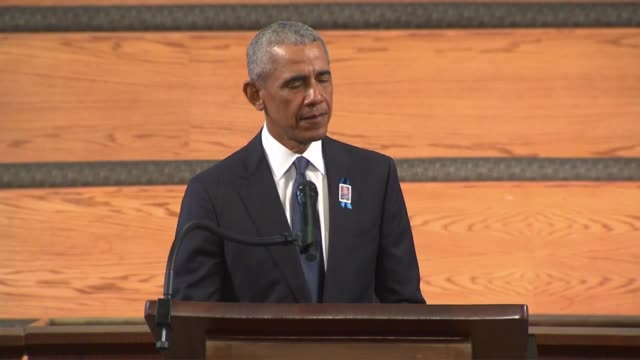 former president barack obama tells those gathered at ebenezer baptist church in atlanta for the funeral of late georgia congressman john lewis that... - time of day stock videos & royalty-free footage