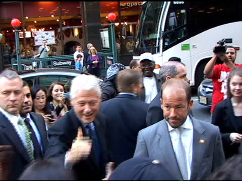 former president bill clinton at the david letterman show at the celebrity sightings in new york at new york ny - former stock videos & royalty-free footage