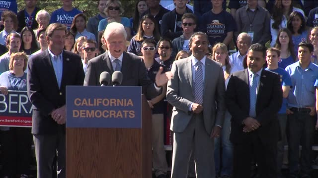 Former President Bill Clinton spoke at the University Of California Davis to endorse 4 northern California Democrats on October 09 2012 in Davis...