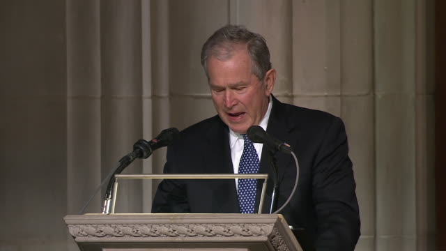 former president george w bush gets emotional during the eulogy for his father and former president george hw bush on december 5 2018 - eulogy stock videos & royalty-free footage