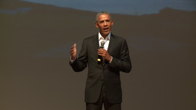 wgn former president obama made a surprise visit at the obama foundation's youth training exercise on oct 14 2017 the event was held at gary comer... - speech stock videos & royalty-free footage