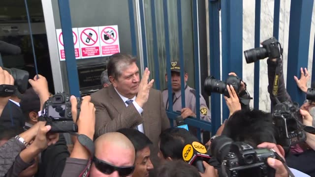 former president of peru alan garcia arrives at the public ministry in lima to speak to prosecutors about works tied to brazilian construction giant... - former stock videos & royalty-free footage