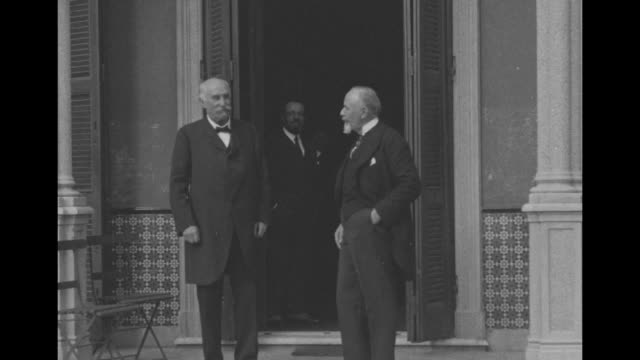 former prime minister giovanni giolitti with another man / note: exact month/day not known - 1920 video stock e b–roll