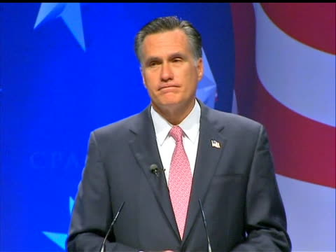 vídeos de stock, filmes e b-roll de former republican governor of massachusetts mitt romney makes remarks on how obama is a weak president at the conservative political action... - political action committee