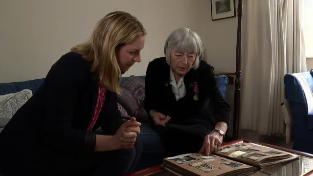 Former Royal Navy wren awarded Legion d'Honneur medal for codebreaking ENGLAND INT Patricia Davies setup shots with reporter
