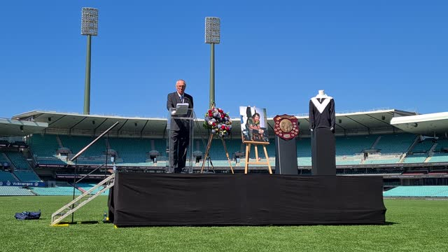 former rugby league player terry rowney speaks during the tommy raudonikis memorial service at the sydney cricket ground on april 19, 2021 in sydney,... - australian national team stock videos & royalty-free footage