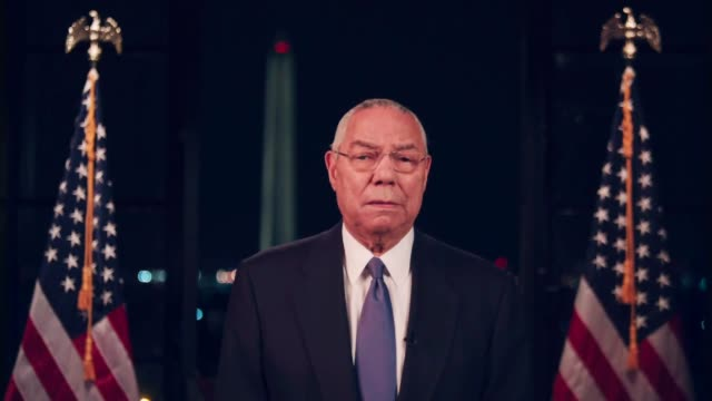 vídeos de stock e filmes b-roll de former secretary of state colin powell says he supports joe biden for president because beginning on day one he would restore leadership and moral... - política e governo