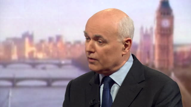 former secretary of state for work and pensions iain duncan smith saying that he is against the welfare cap - cap stock videos & royalty-free footage