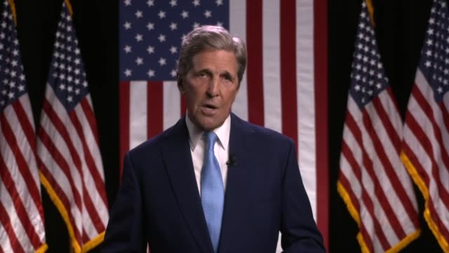 former secretary of state john kerry says joe biden understands values do not limit power magnify it, the united states cannot spread democracy... - us politics stock videos & royalty-free footage