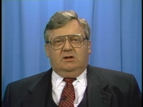 vídeos de stock, filmes e b-roll de former secretary of state lawrence eagleburger comments on the use of force in bosnia - (war or terrorism or election or government or illness or news event or speech or politics or politician or conflict or military or extreme weather or business or economy) and not usa