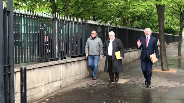 former sinn fein president gerry adams arrives at belfast coroner's court to give evidence to the ballymurphy inquest which is examining the events... - gerry adams stock videos and b-roll footage