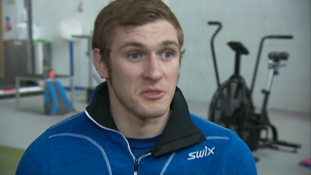 Former soldier Scott Meenagh prepares for nordic skiing event SCOTLAND INT Scott Meenagh interview SOT/ Scott Meenagh skiing during training for...