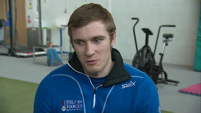 Former soldier Scott Meenagh prepares for nordic skiing event SCOTLAND INT Scott Meenagh interview SOT/ CUTAWAYs EXT / SNOW Scott Meenagh skiing...