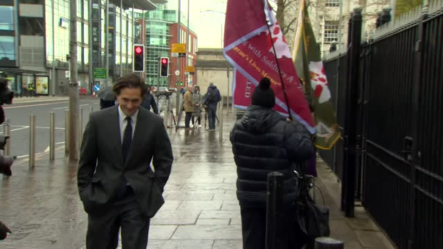 former soldiers outside belfast crown court and arrival of veterans minister johnny mercer, for case against two former paratroopers accused of... - former stock videos & royalty-free footage